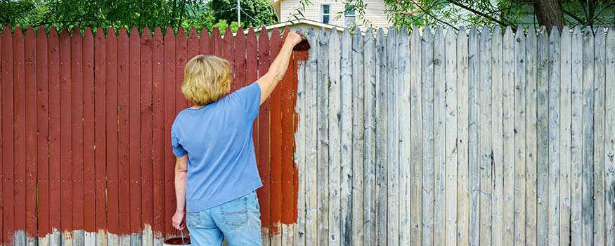 lady painting a fence