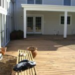 wooden deck before new patio hardscape design