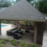 overhead view of backyard hardscape designs