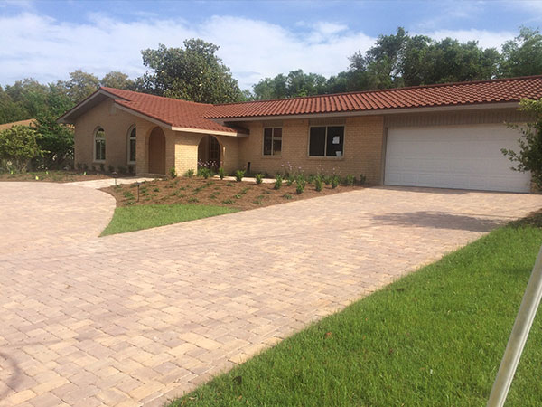 residential landscaped driveway
