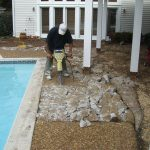 demo of old patio to lay new pavers