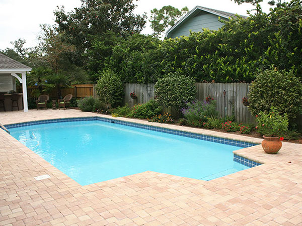 pool with beautiful hardscaping