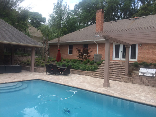 pool and backyard hardscape design