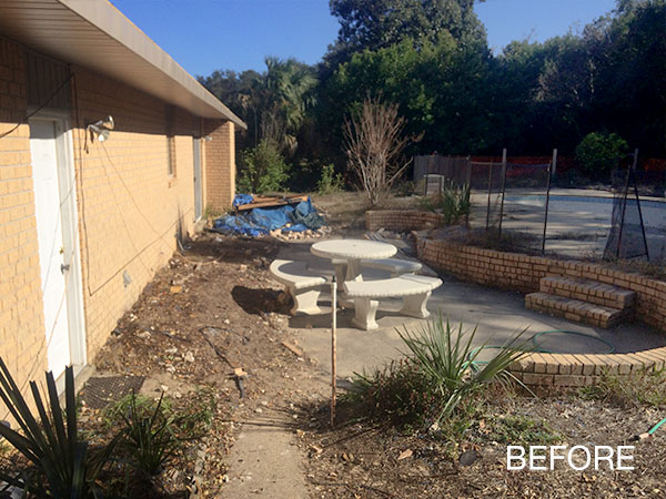before residential landscape overhaul